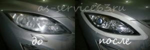 Полировка фар на автомобиле Мазда