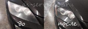 Полировка фар на кроссовере Мазда